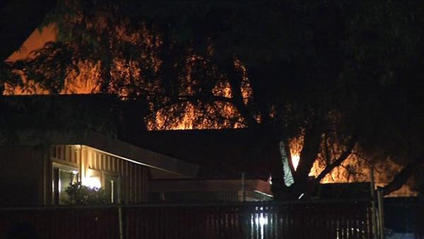 Suspects home erupts in flames