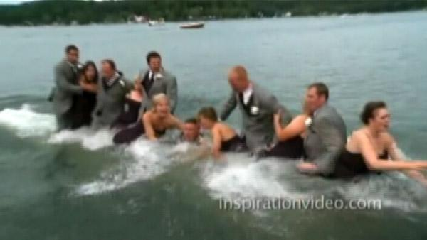 Dock collapses with wedding party on it