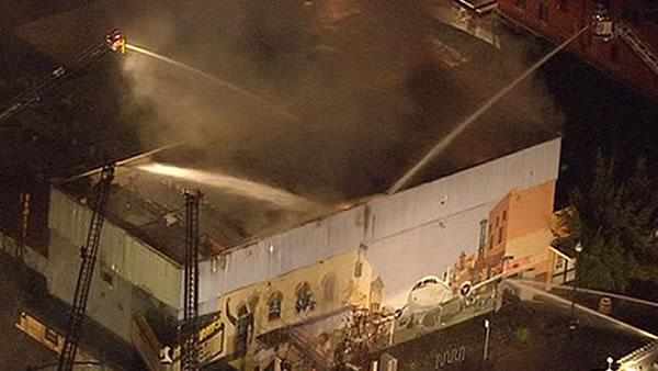 Firefighters battling 5-alarm blaze at comedy club