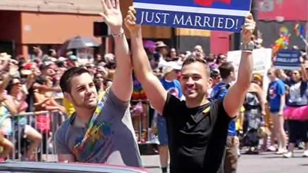 Proposition 8 plaintiffs Paul Katami and Jeff Zarrillo attend San F