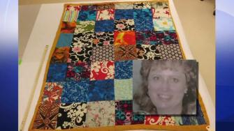 murder victim Cathy Zimmer and the quilt she was found with