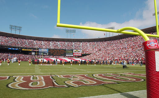 "<div class=""meta ""><span class=""caption-text "">CANDLESTICK NAME CHANGE - This is a view of Candlestick Park before the San Francisco 49ers game against the Atlanta Falcons, Sunday, Sept. 12, 2004. The 49ers announced a four-year agreement Tuesday, Sept. 28, 2004, with Monster Cable Products Inc. that will change the stadium's name to Monster Park.  (AP Photo/Paul Sakuma)</span></div>"