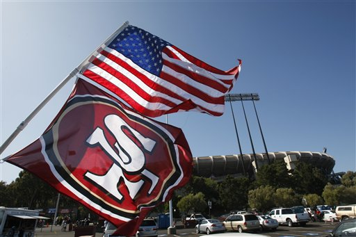 "<div class=""meta ""><span class=""caption-text "">49ers Broncos Football - Flags wave outside of the Candlestick Park before the San Francisco 49ers vs' Denver Broncos NFL preseason football game in San Francisco, Calif., Friday, Aug. 14, 2009.  (AP Photo/Marcio Sanchez)</span></div>"