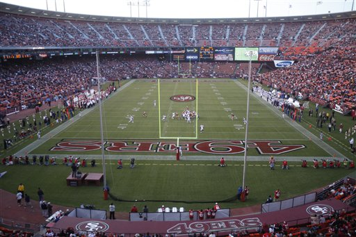 "<div class=""meta ""><span class=""caption-text "">49ers Broncos Football - The San Francisco 49ers play the Denver Broncos at Candlestick Park during their NFL preseason football game in San Francisco, Calif., Friday, Aug. 14, 2009.  (AP Photo/David Bridges)</span></div>"