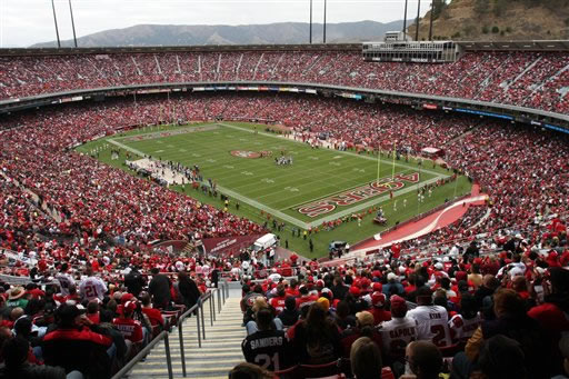 Candlestick Park is seen during an NFL football game with the San Francisco 49ers against the Atlanta Falcons, in San Francisco, Sunday, Oct. 11, 2009. <span class=meta>(AP Photo&#47;George Nikitin)</span>
