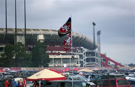 The exterior of Candlestick Park is shown before an NFL football game between the San Francisco 49ers and the Seattle Seahawks in San Francisco, Sunday, Sept. 11, 2011. <span class=meta>(AP Photo&#47;Aaron Kehoe)</span>