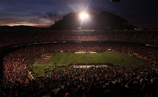 Candlestick Park is dimly lit during a power outage before an NFL football game between the San Francisco 49ers and the Pittsburgh Steelers in San Francisco, Monday, Dec. 19, 2011. <span class=meta>(AP Photo&#47;Jeff Chiu)</span>