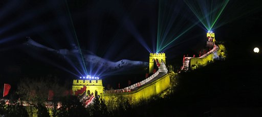 China New Year&#39;s Eve - Laser lights shoot from towers during a New Year&#39;s Eve count down to 2014 held at the Great Wall of China in Beijing, China, Tuesday, Dec. 31, 2013.  <span class=meta>(AP Photo&#47;Ng Han Guan)</span>