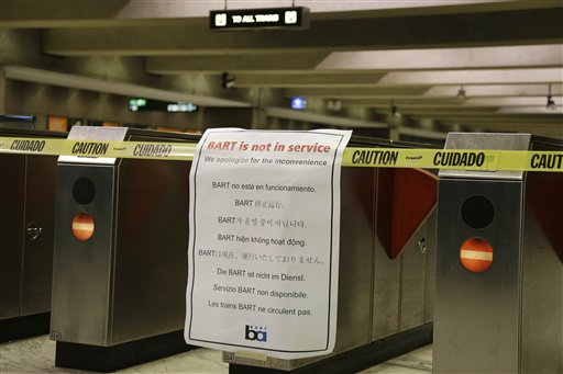 "<div class=""meta image-caption""><div class=""origin-logo origin-image ""><span></span></div><span class=""caption-text"">With the BART transit system on strike, the Embarcadero Station is closed and nearly empty Friday, Oct. 18, 2013, in San Francisco. Commuters in the San Francisco Bay Area got up before dawn on Friday and endured heavy traffic on roadways, as workers for the region's largest transit system walked off the job for the second time in four months. About 400,000 riders take BART every weekday on the nation's fifth-largest commuter rail system. ( (AP Photo/Eric Risberg))</span></div>"