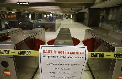 "<div class=""meta ""><span class=""caption-text "">With the BART transit system on strike, the Embarcadero Station is closed and nearly empty Friday, Oct. 18, 2013, in San Francisco. Commuters in the San Francisco Bay Area got up before dawn on Friday and endured heavy traffic on roadways, as workers for the region's largest transit system walked off the job for the second time in four months. About 400,000 riders take BART every weekday on the nation's fifth-largest commuter rail system.  ((AP Photo/Eric Risberg))</span></div>"