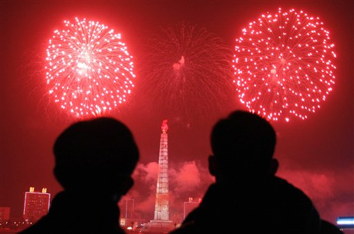 "<div class=""meta ""><span class=""caption-text "">North Korea New Year's Eve - Fireworks explode over Juche Tower and the Taedong River in Pyongyang, North Korea to celebrate the New Year on Wednesday, Jan 1, 2014.  (AP Photo/Kim Kwang Hyon)</span></div>"