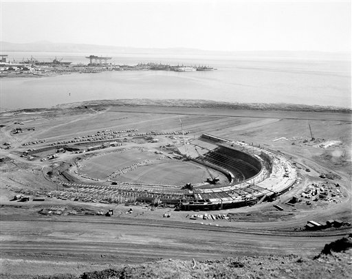 This is how the 45,000-seat stadium now being built for the San Francisco Giants looks, March 4, 1959. The baseball park will be named Candlestick Park and it should be ready in July. Until then, the Giants will play their National League games in Seals Stadium. The name Candlestick derives from a geographical feature of San Francisco Bay. The park is being constructed adjacent to Candlestick Point. In background is the U.S. Naval Shipyard at Hunter&#39;s Point. <span class=meta>(AP Photo&#47;Ernest K. Bennett)</span>