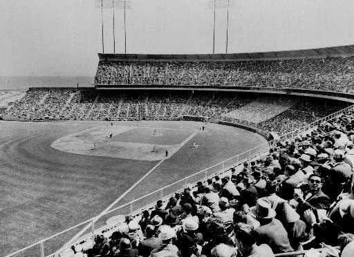 More than 42,000 baseball fans fill Candlestick Park in San Francisco opening day to watch the San Francisco Giants in this April 13, 1960, photo. <span class=meta>(AP Photo)</span>
