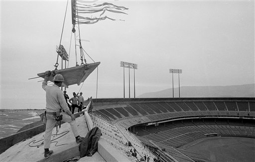Candlestick Park, home field for the Giants and the 49ers, became a complete bowl stadium with the placement of the final section of precast concrete atop the stadium&#39;s rim in San Francisco, Jan. 28, 1972. When the park is completed in early spring, it will seat about 55,000 for baseball and 62,000 for pro football. <span class=meta>(AP Photo&#47;Richard Drew)</span>