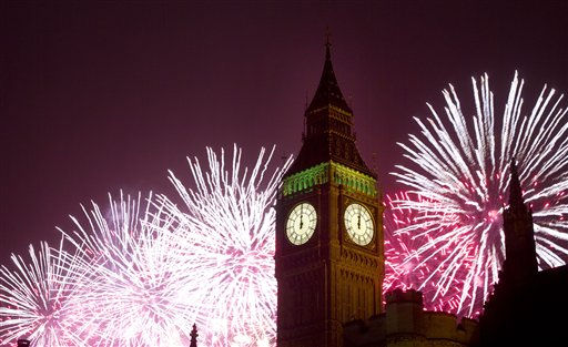 "<div class=""meta ""><span class=""caption-text "">Britain New Year's Eve - Fireworks explode over the Houses of Parliament, including Queen Elizabeth II tower which holds the bell known as Big Ben as London celebrates the arrival of New Year's Day Wednesday, Jan. 1, 2014. The annual firework display is the culmination of the New Year's Eve celebrations. (AP Photo/Alastair Grant)</span></div>"