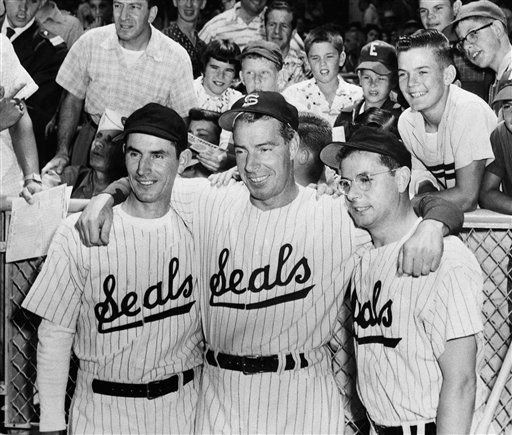The DiMaggio brothers donned old San Francisco Seals uniforms for participation in the old-timers game at Candlestick Park preceding the Giants-Pirates game in San Francisco on August 4, 1962. The brothers are Vince Joe and Dom Di Maggio. <span class=meta>(AP Photo)</span>