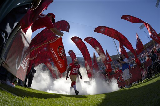 In this photo taken with a fisheye lens, San Francisco 49ers linebacker Patrick Willis &#40;52&#41; is introduced before an NFL football game against the New York Giants in San Francisco, Sunday, Oct. 14, 2012.  <span class=meta>(AP Photo&#47;Mark J. Terrill)</span>