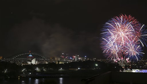 Australia New Year&#39;s Eve - Fireworks explode near the Harbor Bridge and the Opera House during New Year&#39;s Eve celebrations in Sydney, Australia, Tuesday, Dec. 31, 2013. <span class=meta>(AP Photo&#47;Rob Griffith)</span>