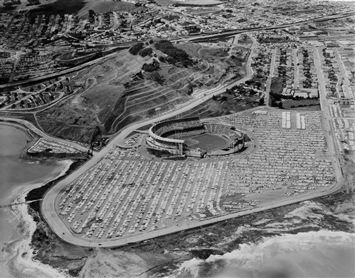 In this photo provided by the California Department of Public Works, Highway Division, is an aerial view of Candlestick Park in San Francisco on opening day of the 1963 season, April 16, 1963. <span class=meta>(AP Photo)</span>