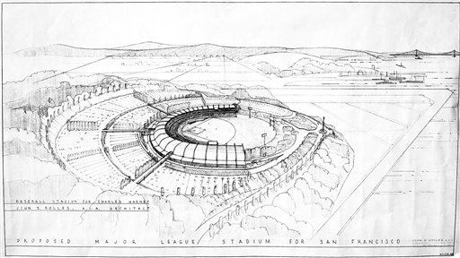This is a photo of an artist&#39;s conception of the proposed stadium for the New York Giants, should they move to San Francisco, shown Aug. 9, 1957. The drawing was prepared for Charles Harney who owns most of the property under consideration near Candlestick Cove on the Bay and who is expected to be the builder of the stadium. The proposed structure would seat 45,000 and cost &#36;10 million. Parking would be provided for 10,000 autos. <span class=meta>(AP Photo&#47;Clarence Hamm)</span>