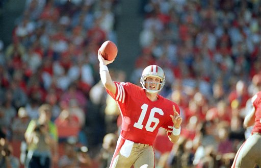 San Francisco 49ers quarterback Joe Montana raises his arm back to through the ball during the first quarter against the St. Louis Cardinals in Candlestick Park, San Francisco, Sunday, Nov. 9, 1986. The game was Montana is first since having back surgery. <span class=meta>(AP Photo&#47;Paul Sakuma)</span>