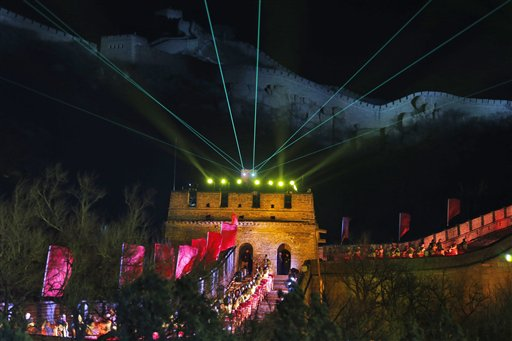 China New Year&#39;s Eve - Laser lights shoot from a tower during a New Year&#39;s Eve count down to 2014 held at the Great Wall of China in Beijing, China, Tuesday, Dec. 31, 2013.  <span class=meta>(AP Photo&#47;Ng Han Guan)</span>