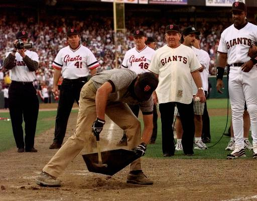 Groundskeeper Roger Revel pulls home plate from the ground of the former Candlestick Park after the San Francisco Giants played their final game there Thursday, Sept. 30, 1999, in San Francisco. <span class=meta>(AP Photo&#47;Bob Galbraith)</span>