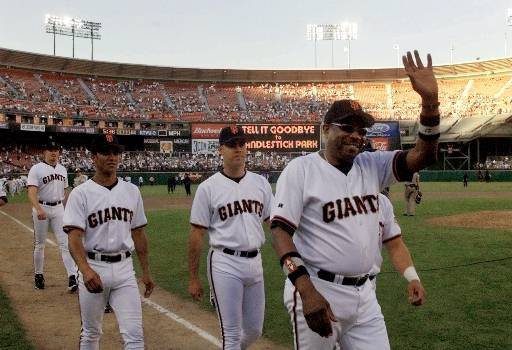 GOODBYE CANDLESTICK GIANTS - San Francisco Giants manager Dusty Baker waves to the crowd after the Giants played their final game in the former Candlestick Park, Thursday, Sept. 30, 1999, in San Francisco. The Los Angeles Dodgers beat the Giants 9-4.  <span class=meta>(AP Photo&#47;Bob Galbraith)</span>