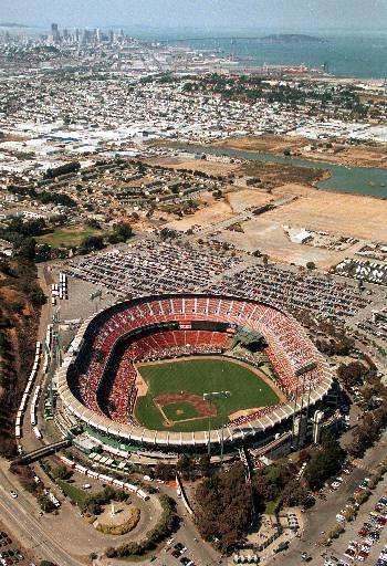 GOODBYE CANDLESTICK - 3Co Park at Candlestick Point is shown in this aerial photo as the San Francisco Giants play the Pittsburgh Pirates in San Francisco, on Aug. 28, 1999. On Sept. 30, 1999, the Giants will play their final regular season game at Candlestick, now known as 3Com Park. <span class=meta>(AP Photo&#47;Eric Risberg)</span>