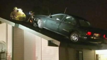 Car lands on roof