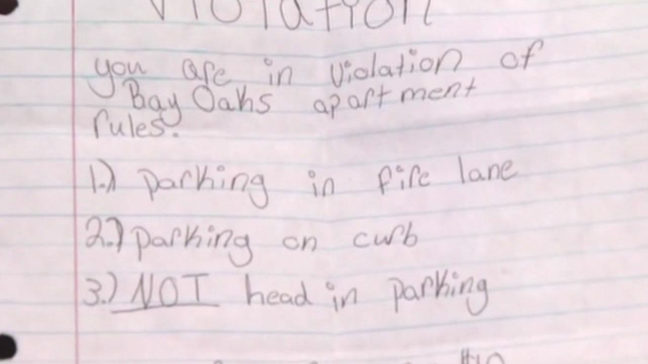 When Annie James saw a police car parked in the fire zone at her apartment complex, she left the cop aparking ticket.