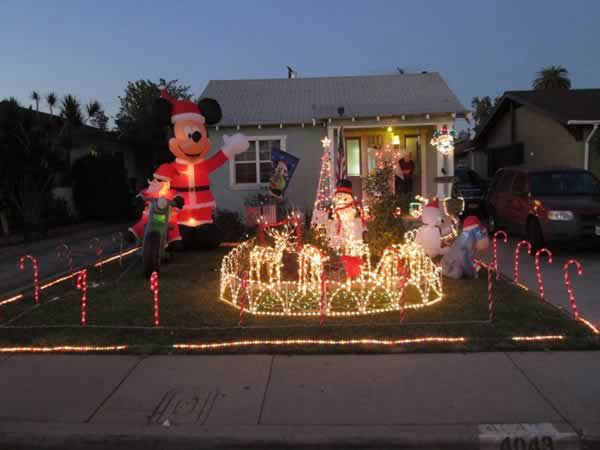 "<div class=""meta ""><span class=""caption-text "">The Kennish Kastle in Maywood. Decorated for Christmas Complete with 12 foot Mickey Mouse, Santa Claus on a Motorcycle, lighted Reindeer EEyore, Shivering snowman in an Igloo, Star hanging on the porch. Show ABC7 your holiday decorations by sending a pic to uReport@kgo-tv.com! (Photo submitted by Bobby K. via Facebook)</span></div>"