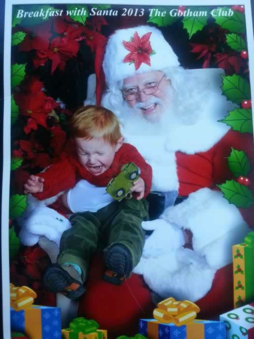 Merry Christmas from our 22 mth old Brodey  from the Gothom Club Breakfast at AT&T park . Santa never missed a beat! (Photo submitted by Heidi R. via Facebook)