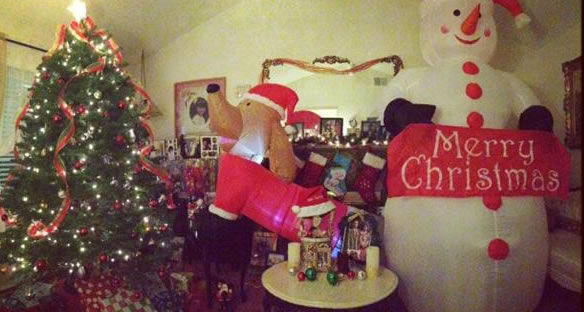 We have 5 dachshunds so we got a dachshund and snowman airbaloon inside our house with a train set running around the tree and gifts. Show ABC7 your holiday decorations by using #abc7holiday! (Photo submitted by Liz L. via uReport)