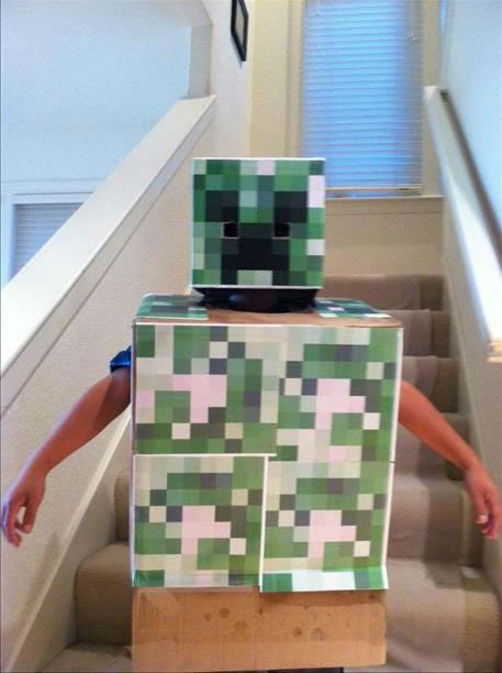Kristen Sze made this Minecraft Creeper costume for her son! Thank goodness meteorologist Mike Nicco says it won't rain! (Submitted via uReport)