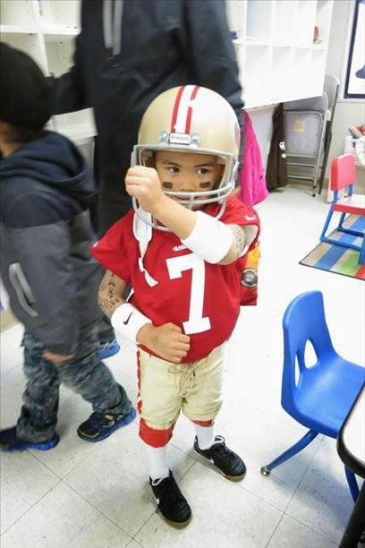 "<div class=""meta image-caption""><div class=""origin-logo origin-image ""><span></span></div><span class=""caption-text"">4 year old Xavier dressed as Colin Kaepernick for Halloween 2013. (Submitted by Mylene via uReport)</span></div>"