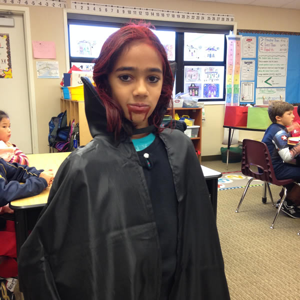 Meteorologist Sandhya Patel&#39;s 7-year-old daughter poses for a Halloween photo.  She&#39;s out of the princess phase and has moved on to vampires! <span class=meta>(KGO)</span>