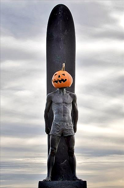 The surfer statue on West Cliff Drive in Santa Cruz shows that Halloween is Santa Cruz's favorite holiday. (Submitted by anonymous via uReport)