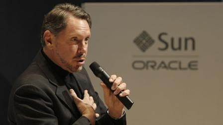 Oracle CEO Larry Ellison speaks at an Oracle and Sun strategy update event in Redwood City, Calif., Wednesday, Jan. 27, 2010. (AP Photo/Jeff Chiu)