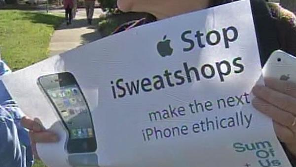 Protest outside Apple HQ during shareholder meeting