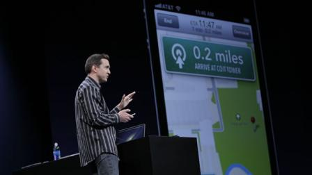 Apple Scott Forstall talks about Turn By Turn Directions at the Apple Developers Conference in San Francisco, Monday, June 11, 2012.