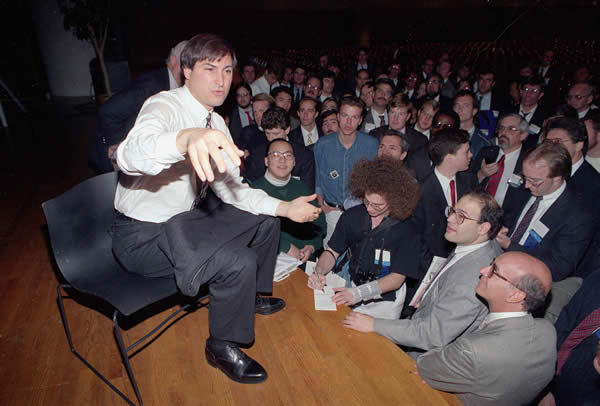 Personal computer pioneer Steve Jobs of NeXT Computer Inc., speaks to the public during the UNIX expo at the Javitz Convention Center in New York City on Oct. 30, 1991. <span class=meta>(AP Photo&#47;Richard Drew)</span>