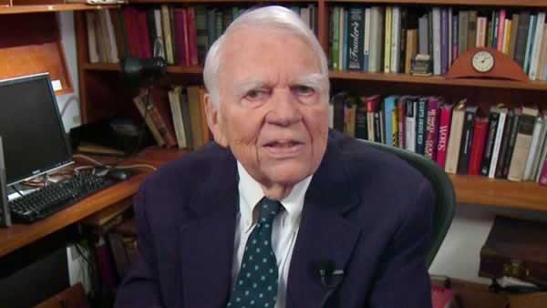 In this Aug. 23, 2011 image taken from video and provided by CBS, Andy Rooney tapes his last regular