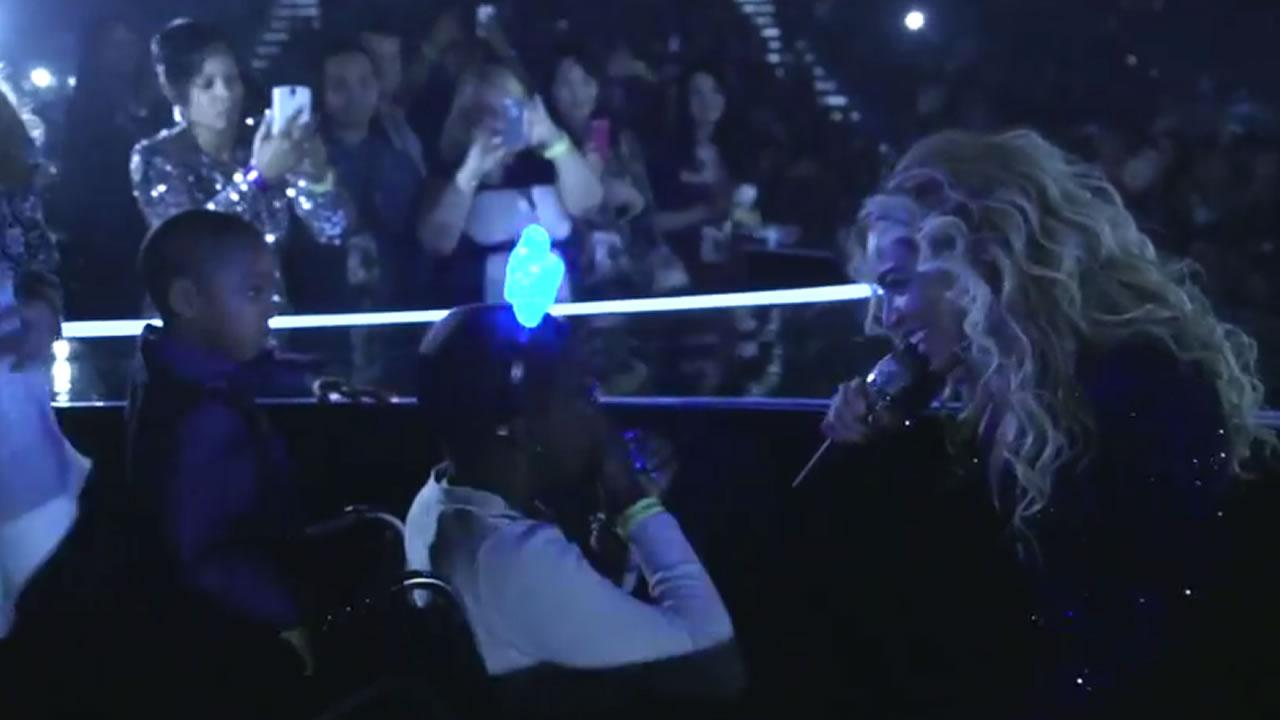 During the Las Vegas stop of her world tour, Beyonce made the wish of the terminally ill girl come true.