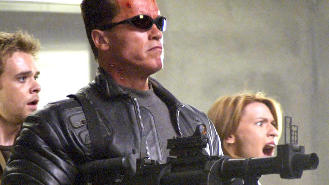 ** FILE ** This undated file photo originally supplied by Warner Bros. Pictures shows Arnold Schwarzenegger in his role as the Terminator in his most recent sequel Terminator 3: Rise of the Machines.