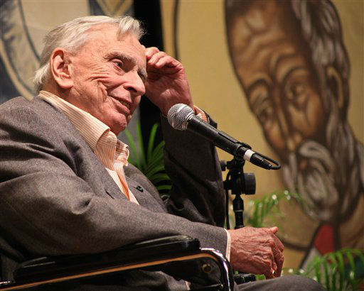 FILE - In this Jan. 10, 2009 file photo released by the Florida Keys News Bureau, author and essayist Gore Vidal delivers the keynote presentation during the first session of the 27th annual Key West Literary Seminar in Key West, Fla. Vidal died Tuesday, July 31, 2012, at his home in Los Angeles. He was 86. &#40;AP Photo&#47;Florida Keys News Bureau, Carol Tedesco&#41; <span class=meta>(AP Photo&#47; Carol Tedesco)</span>