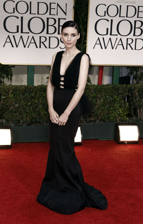 Rooney Mara arrives for the 69th Annual Golden Globe Awards Sunday, Jan. 15, 2012, in Los Angeles. (AP Photo/Matt Sayles)