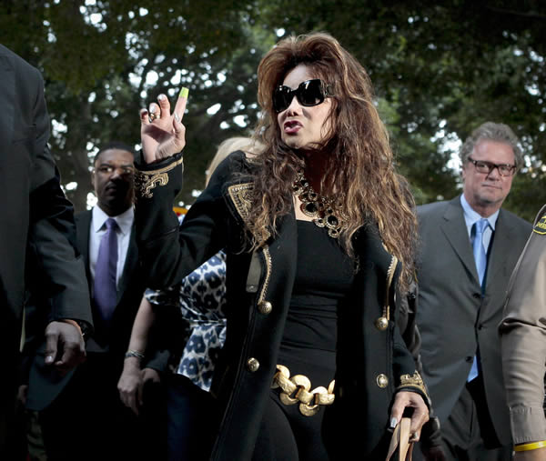 LaToya Jackson arrives at the Criminal Justice Center, Monday, Nov. 7, 2011, in Los Angeles, after it was announced that the jurors had reached a verdict in the involuntary manslaughter trial of Dr. Conrad Murray, Michael Jackson&#39;s physician when the pop star died in 2009. <span class=meta>(AP Photo&#47;Bret Hartman)</span>