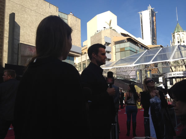"<div class=""meta ""><span class=""caption-text "">GMA's Cameron Mathison rehearses on the red carpet the Saturday before the 84th Academy Awards in Los Angeles. (Rosendo Pena/KGO)</span></div>"