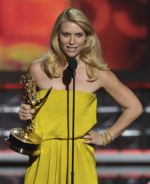 "<div class=""meta ""><span class=""caption-text "">Claire Danes accepts the award for Outstanding Lead Actress In A Drama Series for ""Homeland"" at the 64th Primetime Emmy Awards at the Nokia Theatre on Sunday, Sept. 23, 2012, in Los Angeles. (Photo by John Shearer/Invision/AP)</span></div>"